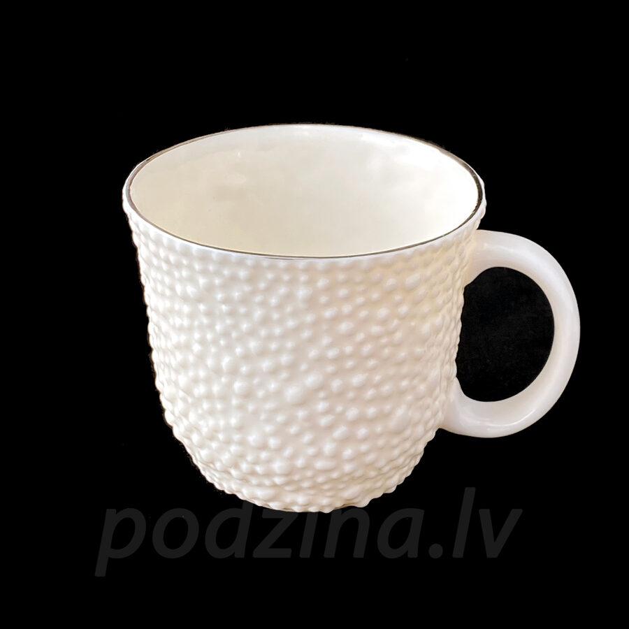 Porcelāna burbuļkrūze ar zelta maliņu, 350ml
