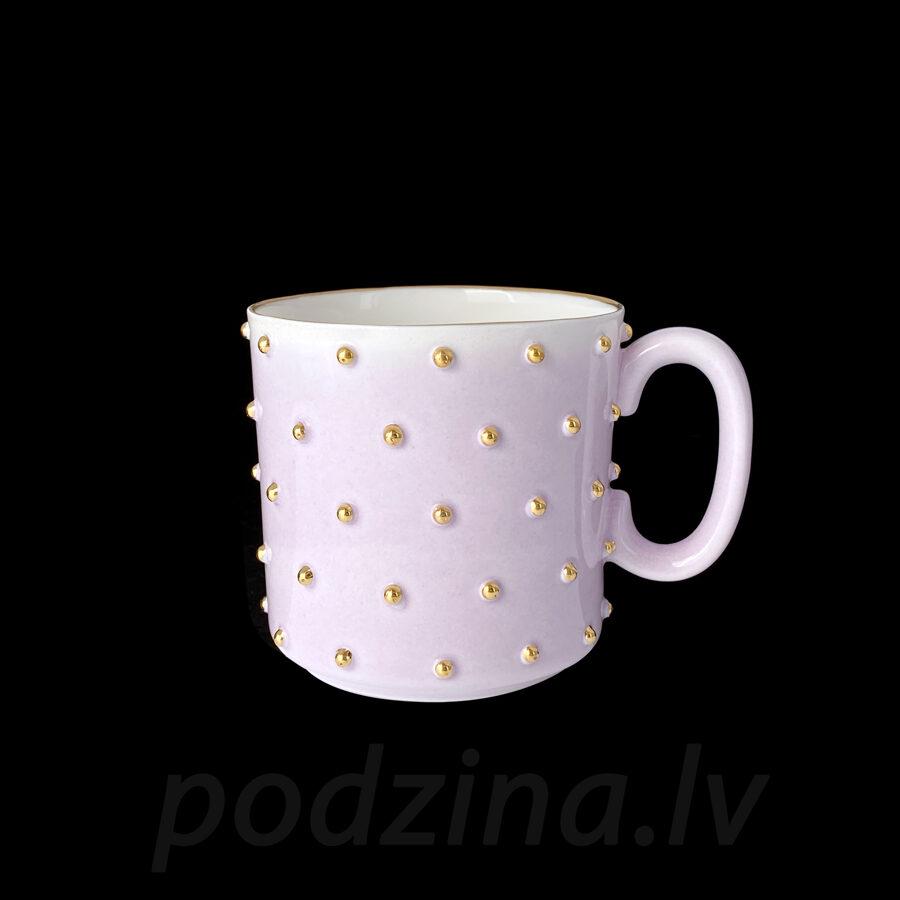 Rozā porcelāna krūzīte ar zelta pumpiņām, 200ml