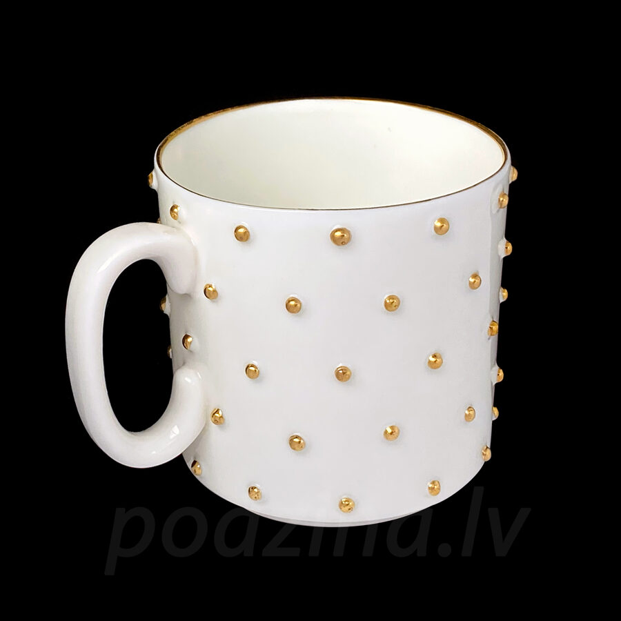 Porcelāna krūzīte ar zelta pumpiņām, 200ml