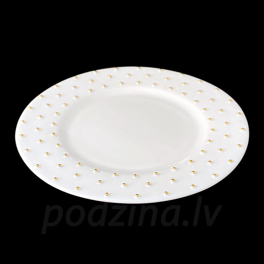 Porcelāna šķīvis ar zelta vai platīna pumpiņām