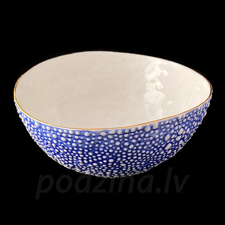 Porcelāna zila burbuļbļoda 22cm