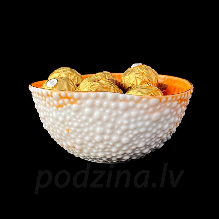 Porcelāna burbuļbļodiņa ar oranžu iekšu