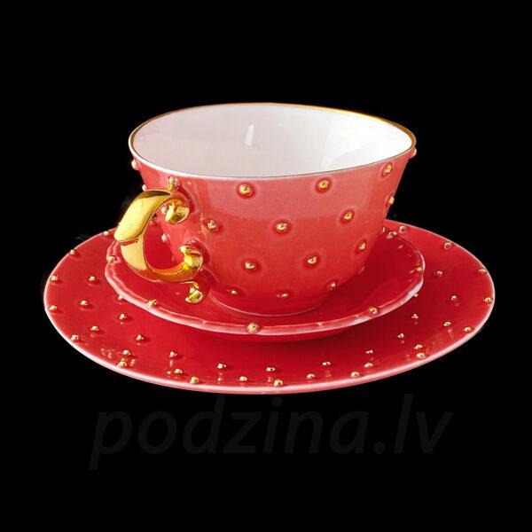 Kafijas tase sarkana 180ml ar šķīvīti