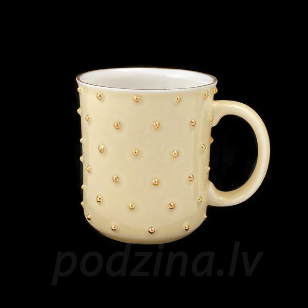 Gaiši dzeltena porcelāna krūze, 300ml