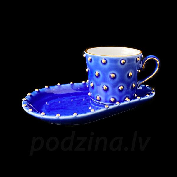 Zila espresso tasīte ar apakštasi